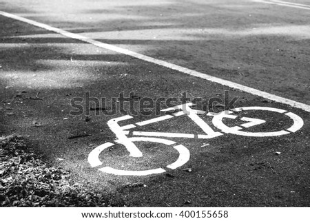 Bicycle lane symbol on the road