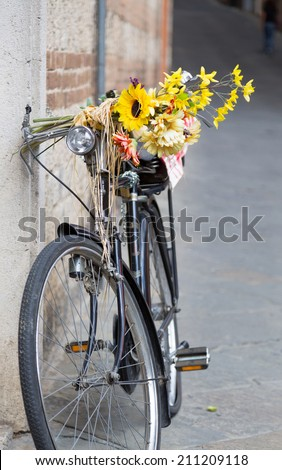 Bicycle leaning against the wall in a small town in Italy