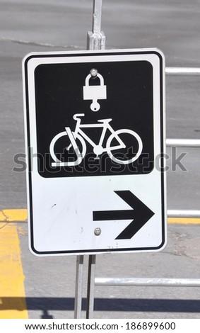 Bicycle locker sign - stock photo