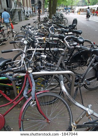 Bicycle mess in Amsterdam, Holland