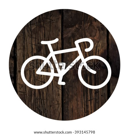 Bicycle minimalistic icon on aged wooden wall background. Raster version - stock photo