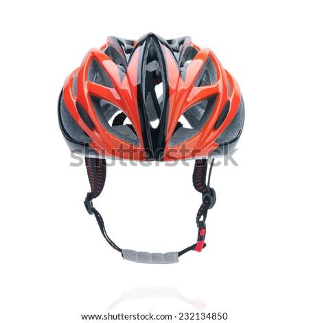 Bicycle mountain bike safety helmet isolated on white - stock photo