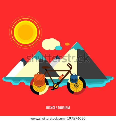 Bicycle near the mountain. Bicycle tourism. Icons of traveling, planning a summer vacation, tourism and journey objects. Raster version - stock photo