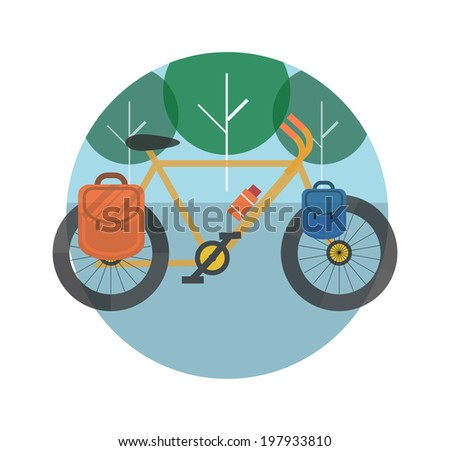 Bicycle near the trees. Bicycle tourism. Icons of traveling, planning a summer vacation, tourism and journey objects. Raster version - stock photo