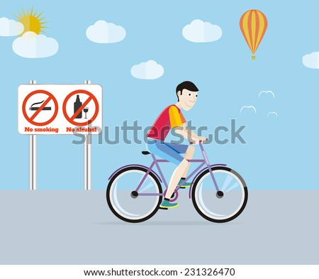 Bicycle on road. Bicycle tourism sport. Icons of traveling, planning a summer vacation, tourism and journey objects. Man in red T-shirt riding his bike on the road. Raster version - stock photo