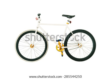 Bicycle on white, fixed gear. - stock photo