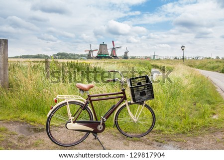 Bicycle parked in Zaanse Schans - stock photo
