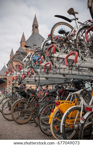 Bicycle parking at the railway station in Copenhagen, Denmark