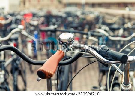 Bicycle parking in Copenhagen. Denmark - stock photo