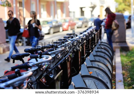 Bicycle parking in the city - stock photo