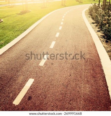 Bicycle path in Lemesos, Cyprus with Instagram style filter - stock photo