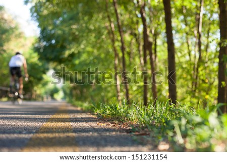 Bicycle path with green trees. A cyclist pedals in the background.  - stock photo