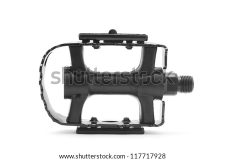 bicycle pedal on white background - stock photo
