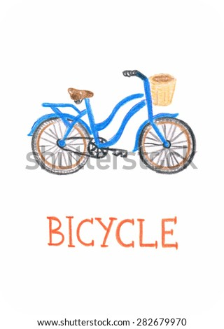 Bicycle pencil drawing, educational card for children