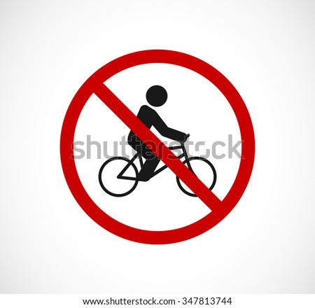 bicycle person forbidden sign icon - stock photo