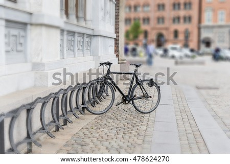 bicycle rackes in bicycle parking in town