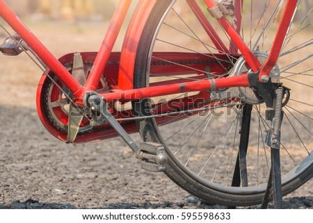 bicycle red classic vintage in former