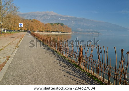 bicycle road in Ioannina lake - stock photo