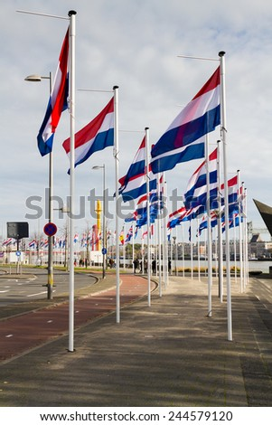 Bicycle road in Rotterdam, Netherlands - stock photo