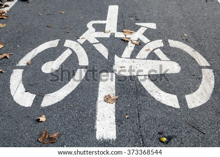 Bicycle road sign on bike lane alongside Tevere river, Rome Italy