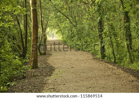 Bicycle route trail - stock photo