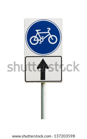 bicycle sign and bicycle lane on white background - stock photo