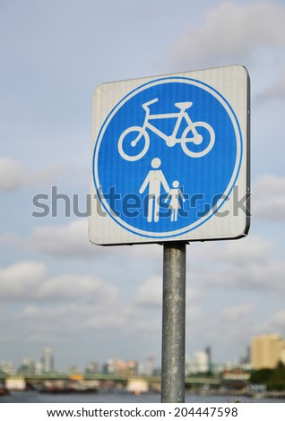 bicycle sign and blue sky