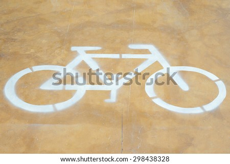 Bicycle sign or Bike lane and Yellow background - stock photo