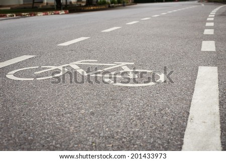 Bicycle sign or icon on the road in the park