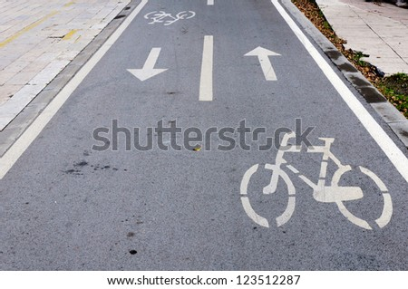 Bicycle signs on the streets