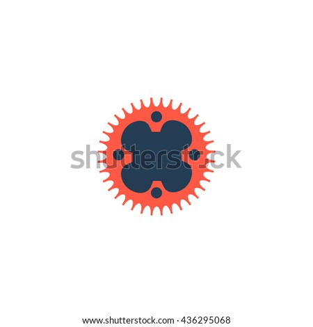 Bicycle sprocket. Color simple flat icon on white background - stock photo