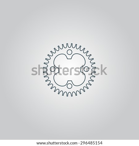 Bicycle sprocket. Flat web icon, sign or button isolated on grey background. Collection modern trend concept design style  illustration symbol - stock photo