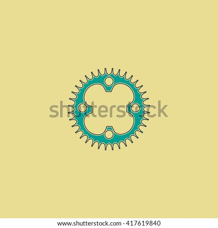 Bicycle sprocket. Grren simple flat symbol with black stroke over yellow background - stock photo