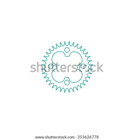 Bicycle sprocket. Outline symbol on white background. Simple line icon - stock photo