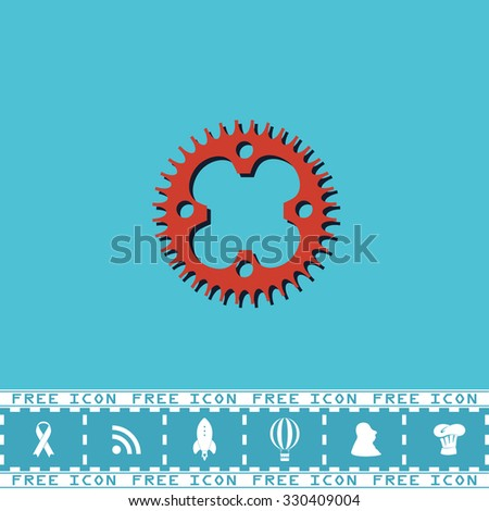 Bicycle sprocket. Red flat symbol with dark shadow and bonus icon. Simple illustration pictogram on blue background - stock photo