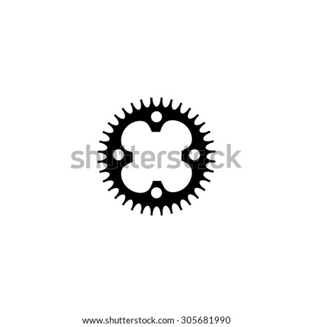 Bicycle sprocket. Simple black flat pictogram on white background - stock photo