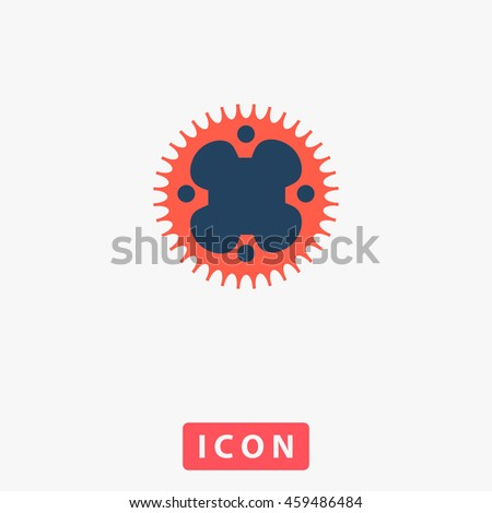 Bicycle sprocket. White circle button on black background - stock photo