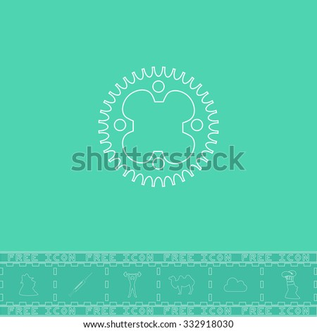 Bicycle sprocket. White outline flat icon and bonus symbol. Simple illustration pictogram on green background - stock photo