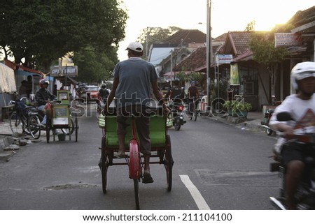 Bicycle Taxi In Yogyakarta - stock photo