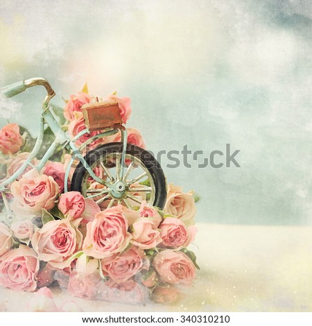 Bicycle toy with roses. Gift for mom.