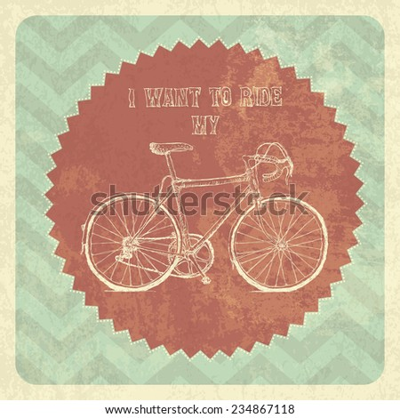 Bicycle Vintage Poster. Raster version - stock photo