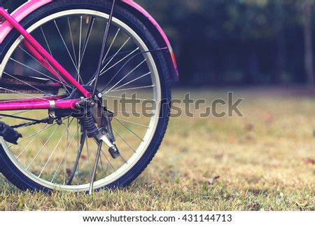 Bicycle wheel close up, vintage style.