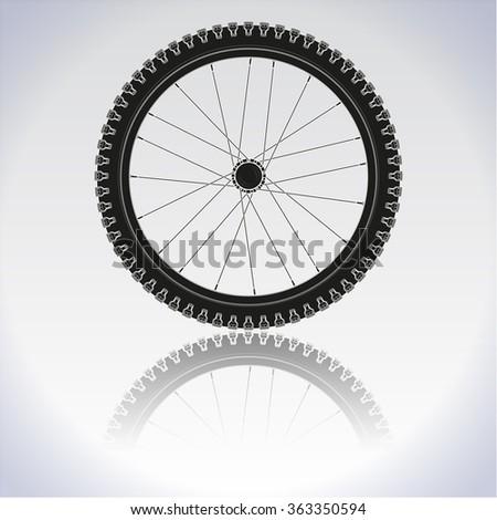 Bicycle wheel icon. Illustration. Raster version. - stock photo