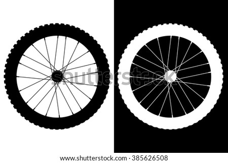 Bicycle wheel.   icon. Isolated on  white and black background. Raster version. - stock photo