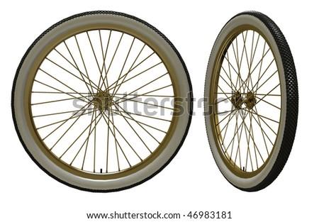Bicycle wheel isolated on white - stock photo
