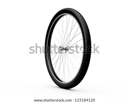 Bicycle wheel, isolated on white background.