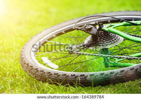 bicycle wheel on green grass in sun light, selective focus - stock photo