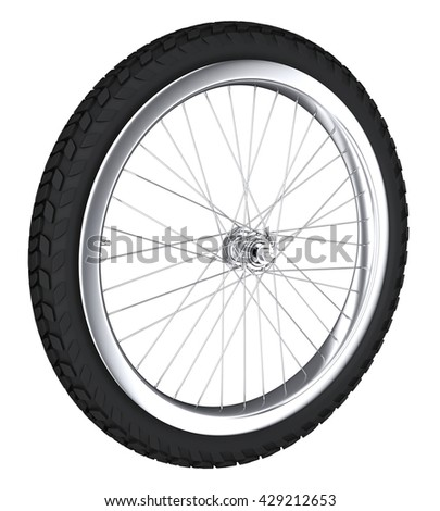 Bicycle wheel with spokes and off-road tire. 3d illustration. Isolated on white.
