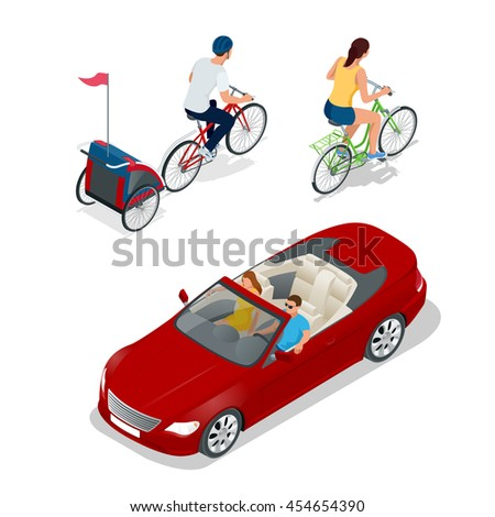 Bicycle with child carrier. Isometric Bicycle. Family Cyclists. Cabriolet car. Transport for summer travel. Sports car vehicle. Flat 3d illustration - stock photo