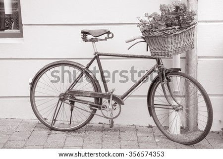 Bicycle with Flowers, Dingle, Ireland in Black and White Sepia Tone